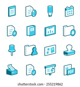 Collection of blue office vector icons.