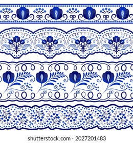 Collection of blue ornamental Seamless borders for the design in the style of ethnic porcelain painting. Floral Brushes with leaves and flowers isolated on white. Vector illustration