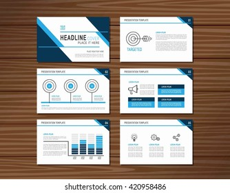 collection of blue presentation templateflat design for advertising