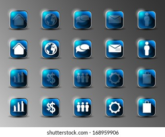 collection of blue shiny icons with long shadows