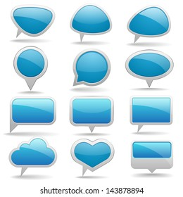 Collection of blue speech bubbles