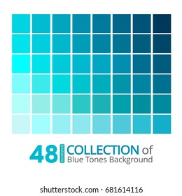A collection of Blue tones on white background. Vector