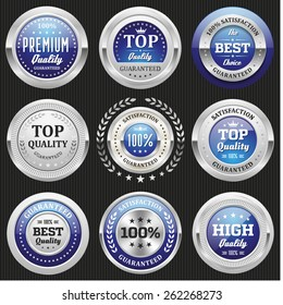 Collection of blue top quality badges with silver border