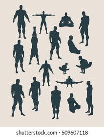 The collection of body building silhouettes. Bodybuilder posing