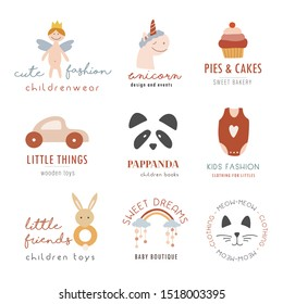 Collection of bohemian kids logo. Kid cute toy store, fashion label design, children clothes brand, care logo template. Vector illustration
