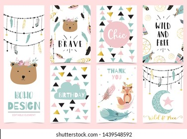 Collection of boho cards set with feather,dreamcatcher,bear.Vector illustration for birthday invitation,postcard and sticker.Editable element