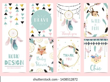 Collection of boho cards set with feather,dreamcatcher,fox,monkey.Vector illustration for birthday invitation,postcard and sticker.Editable element
