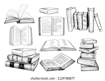 A collection of  books sketches .Various books in vintage style. Hand-drawn vector design elements. Clipart.