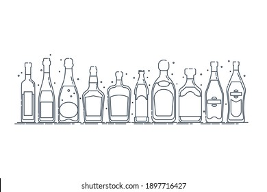 Collection bottle alcoholic drinks. Alcohol container stand in row. Illustration isolated. Flat design style. Beer champagne red wine liquor vodka martini vermouth whiskey rum tequila. Vector.