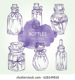Collection of a bottle. Cosmetics, perfumery and medical bottle. hand drawn