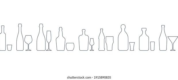 Collection bottle and glassware alcoholic drinks. Simple black line shapes isolated. Illustration on white backdrop. Flat design style. Beer champagne red wine whiskey liquor vodka martini rum tequila