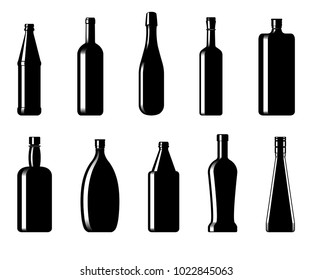 Collection of bottles of different shapes on a white background. Vector illustration