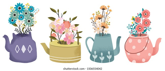 The collection of bouquet of flower in the teapot set. Graphic resource about flower with the teapot set for graphic, content , banner, sticker label and greeting card