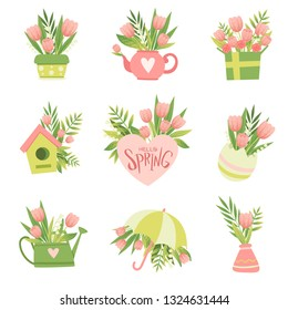 Collection of Bouquets of Pink Flowers, Hello Spring Floral Design Template Vector Illustration