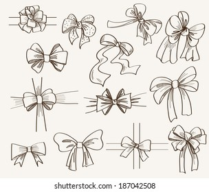 collection of bows used for gift boxes. set of vector sketches