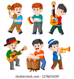 the collection of the boy playing with the different musical instrument