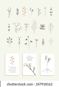 Collection of branches and flowers plus 3 romantic invitations. Wedding, marriage, bridal, birthday, Valentine's day. Isolated. Vector