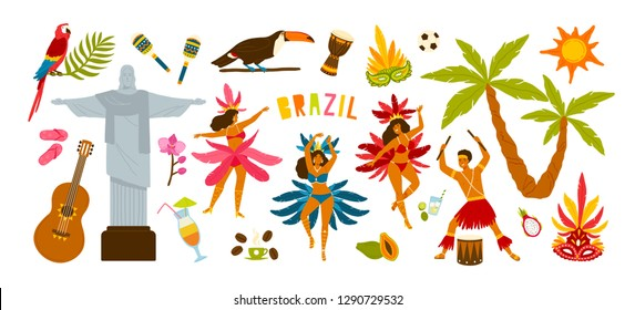 Collection of Brazilian carnival traditional attributes - female dancers dancing samba, musician playing on drums, festive masks, summer cocktails. Colorful vector illustration in flat cartoon style.