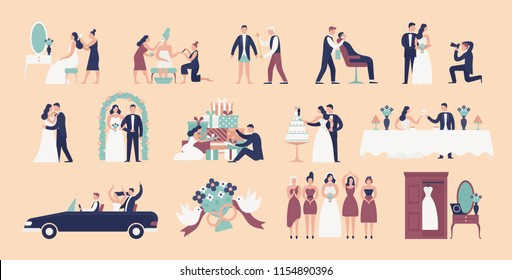 Collection of bride and groom preparing for wedding ceremony. Set of preparations for marriage celebration day isolated on light background. Colorful vector illustration in flat cartoon style.