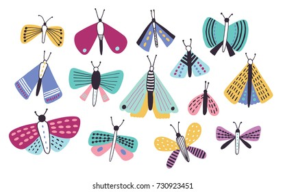 Collection of bright colored cartoon moths of different types and sizes isolated on white background. Nocturnal flying insects with beautiful wings, butterflies. Colorful vector illustration.