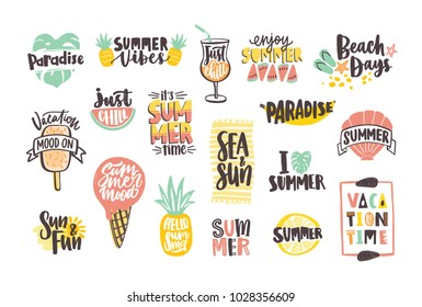 Collection of bright colored summer lettering handwritten with calligraphic fonts and decorated with tropical fruits, exotic leaves, ice cream, sun and shells. Creative hand drawn vector illustration.