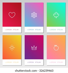 Collection of bright and colorful card set with love, winter, nature, sun, royal and peach symbol. Blur background collection with space for text isolated on gray background.