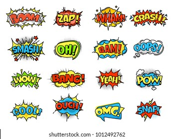 Collection of bright, colorful, multi-colored speech bubbles, with text and decorative texture. Template of clouds of different forms with messages. Vector illustration isolated.