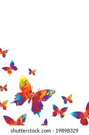 Collection of bright coloured butterfly's on a white background