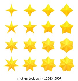 Collection of bright different golden stars. Vector, isolated.