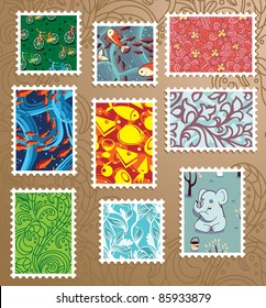 collection of bright floral stamps in different colors