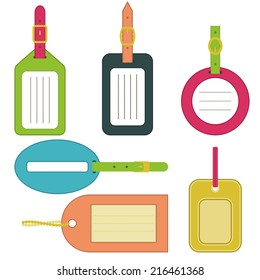 Collection of bright luggage tags