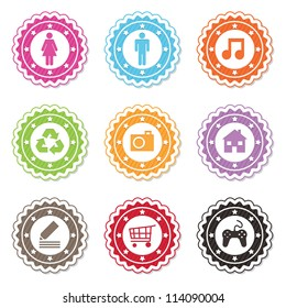 collection of bright web badges with icons, isolated on white