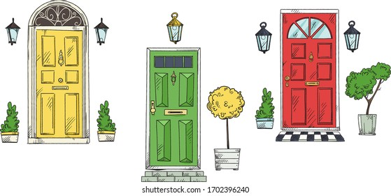collection of British traditional home entrancedoors , vector sketch