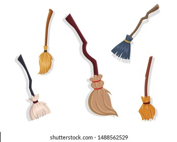 Collection of brooms. Concept cartoon broom in different. Halloween elements set. Vector clipart illustration isolated on white background