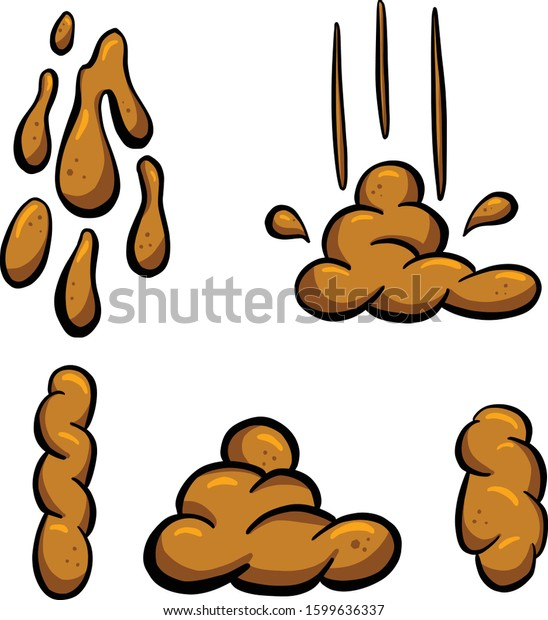 A Collection of Brown Cartoon Poo Poop Faeces Illustrations