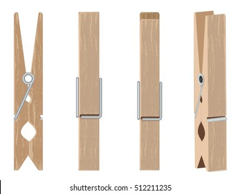 Collection of brown wooden clothespins, pegs illustration.