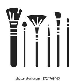 La collection brosse l'icône de glyphe noir. Signe accessoire pour cosmétiques. L'industrie de la beauté. Un visage professionnel. Pictogramme pour page web, application mobile, promo. Elément de conception graphique de l'interface utilisateur utilisateur UX