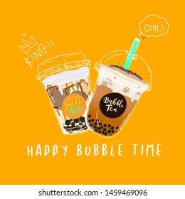 Collection of Bubble tea,Pearl milk tea ,coffees and soft drinks with doodle style banner. - Vector