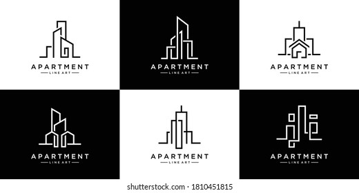 collection of building architecture sets, real estate logo design line art style