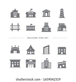 COLLECTION OF BUILDING FLAT ICONS