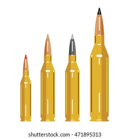 A collection of bullets. Hunting. Vector illustrations in flat style