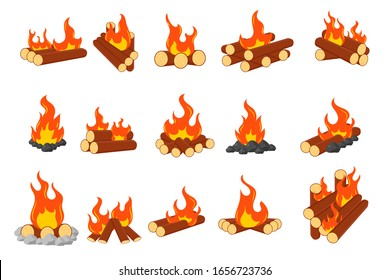Collection of burning bonfires or campfires isolated on white background. Animation set of flame on firewood or logs in fire. Wood campfire, travel and adventure symbol. Vector illustration, EPS 10.
