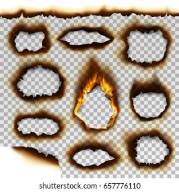 Collection of burnt faded holes piece burned paper realistic fire flame vector illustration