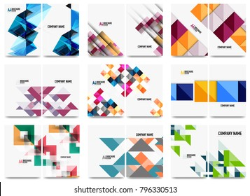 Collection of business annual report brochure templates, A4 size covers created with geometric modern patterns - squares, lines, triangles