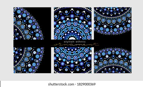 Collection Business card or invitation. Vector background. Vintage decorative elements. Hand drawn background.Spot painting point to point. Abstract design of mandala in dot paint style.