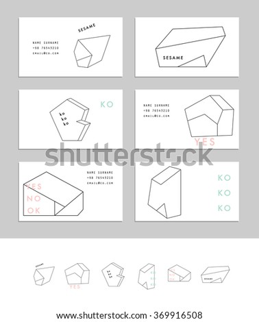 Collection Business Cards Geometric Outline Shapes Stock Vector