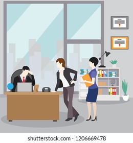 Collection of business characters working in office