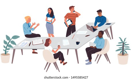 Collection of business people working in office. Workers solve problems. They drink coffee, discuss complex issues, talk on the phone with partners. Different races and nationalities. Flat. Cartoon