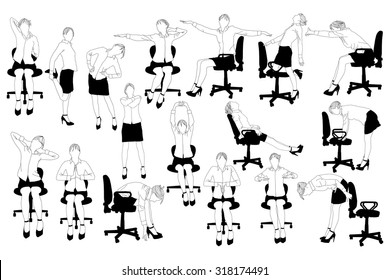 Collection of business woman doing exercise at the office.