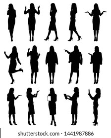 Collection of business woman or teacher wearing skirt in different situations and gestures. Easy editable vector illustration